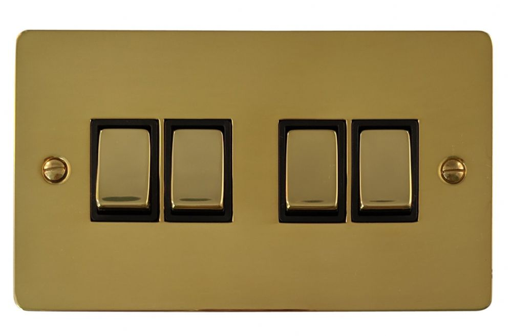 G&H FB304 Flat Plate Polished Brass 4 Gang 1 or 2 Way Rocker Light Switch